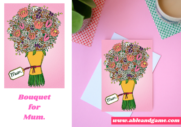greeting card for mum, large bouquet of flowers with a tag that says mum