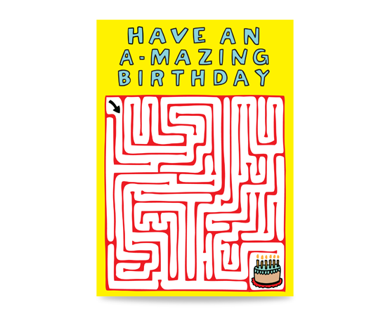 Birthday card with a maze leading to a cake. Text reads: Have an A-mazing birthday. Cute birthday card for a friend. Fun birthday card for brother