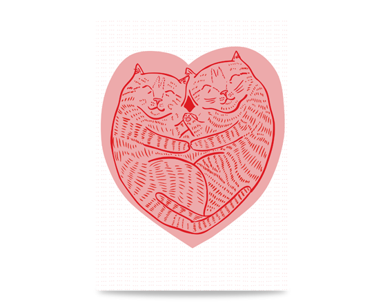 Valentine's Day Card featuring two cuddling kitties inside a love heart.
